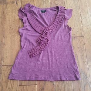 Deletta Women's Purple Top with Ruffle Neckline